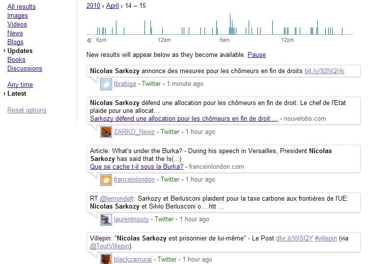 Une recherche Google sur Nicolas Sarkozy dans les archives des tweets