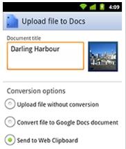 Google Documents upload photos