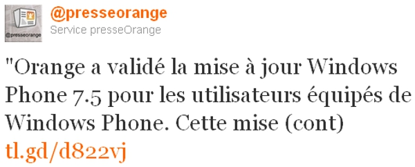Orange annonce Twitter