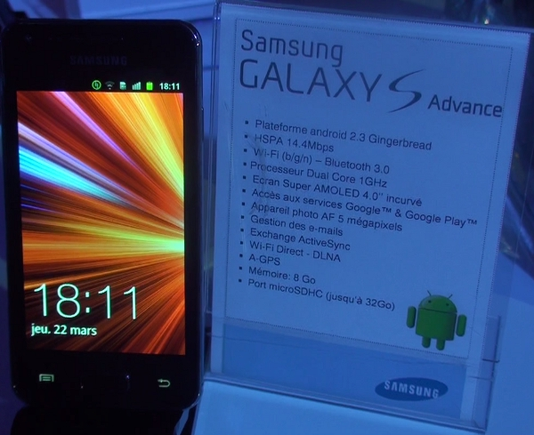 Samsung Galaxy S Advance smartphone - BIG