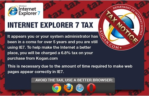 Internet Explorer 7 taxe navigateur obsolète