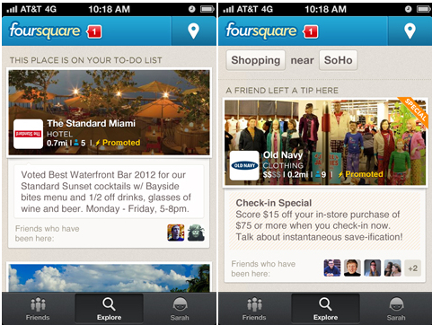 Foursquare Promoted Updates