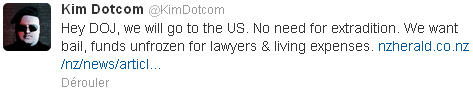Kim Dotcom s'adresse au DoJ sur Twitter