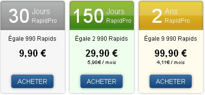 RapidShare RapidDrive cloud tarification
