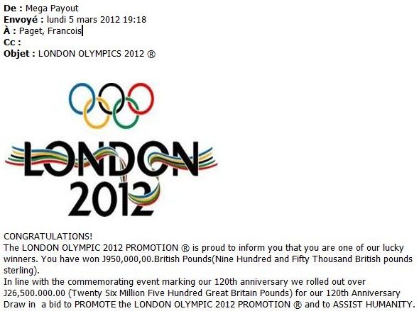 scam arnaque escroquerie Londres 2012