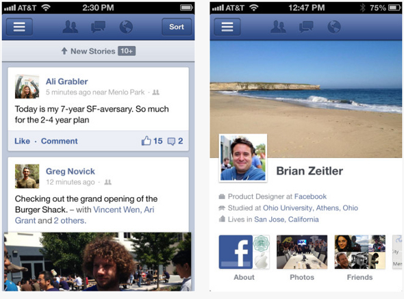 Facebook application iOS