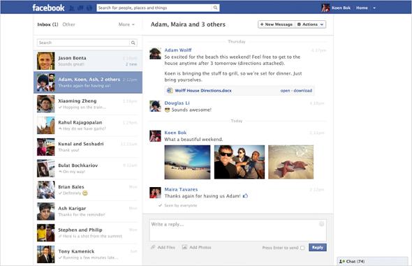 Facebook Messages nouveau look été 2012