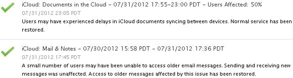 panne Apple iCloud août 2012