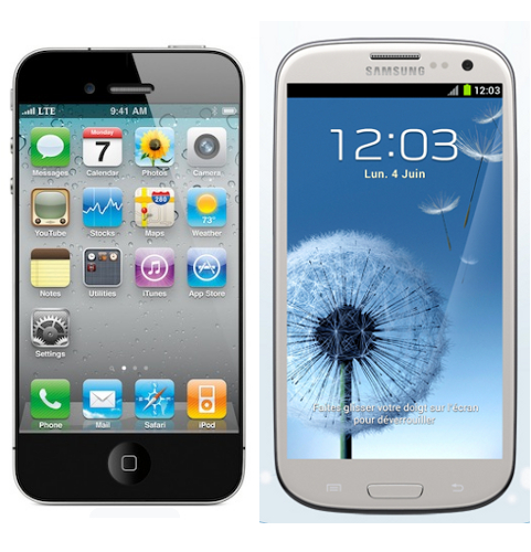 Apple iPhone 5 contre Samsung Galaxy S3 smartphones