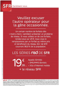 SFR attaque Free Mobile téléphonie forfaits low cost