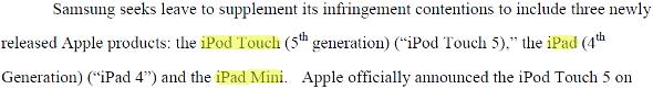 Samsung iPad Mini brevets