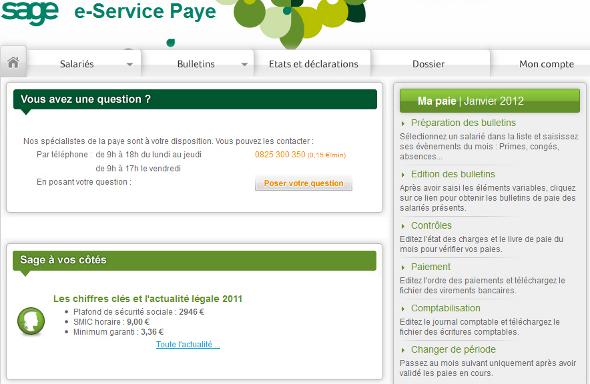 Sage e-Service Paye externalisation comptabilité SaaS
