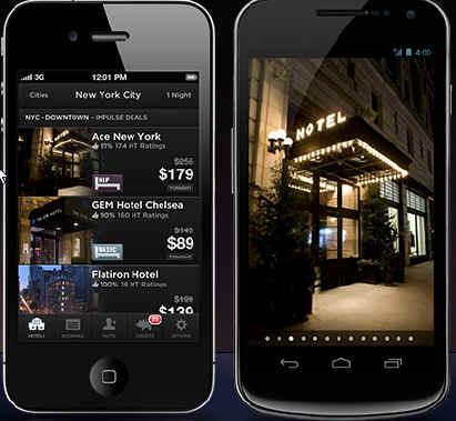 Application sur smartphones HotelTonight