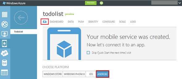 Microsoft WIndows Azure Android
