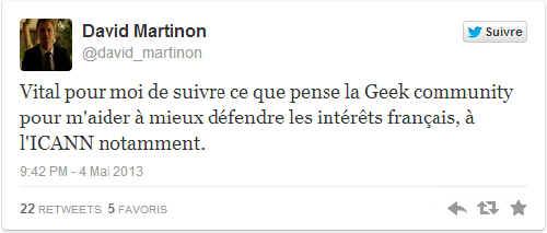 Le premier tweet de David Martinon