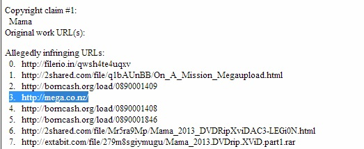 Requête de désindexation de la page d'acuueil Mega par Universal