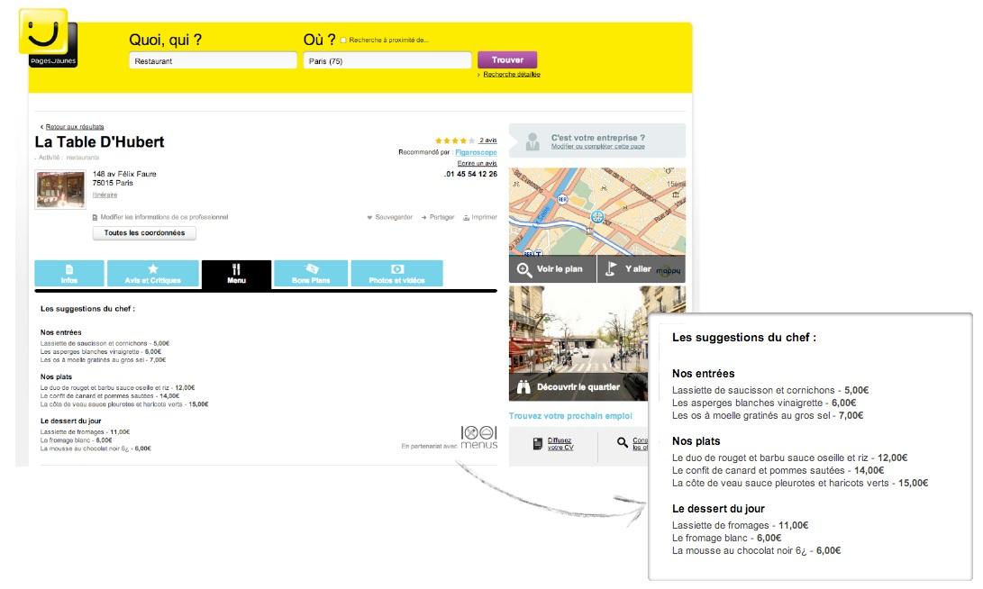 Visuel du projet 1001 Menus et Pages Jaunes