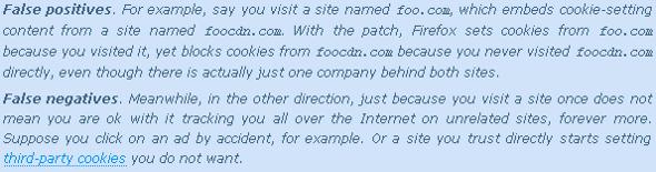 Mozilla cookies faux positifs