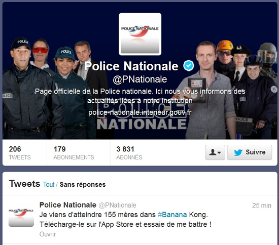 twitter-police-nationale-française-banana-kong