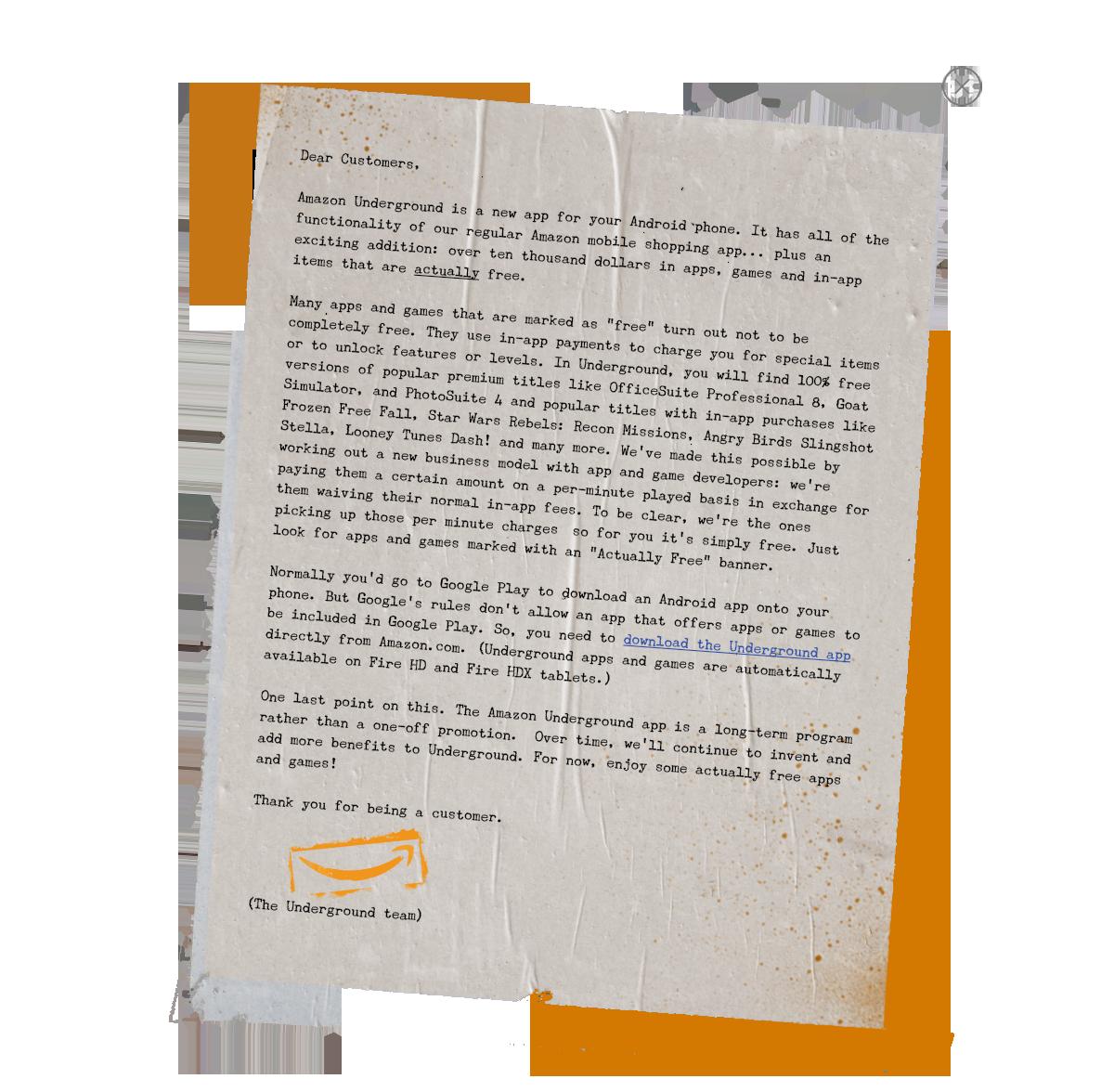 Lettre d'Amazon au sujet de l'application Underground.