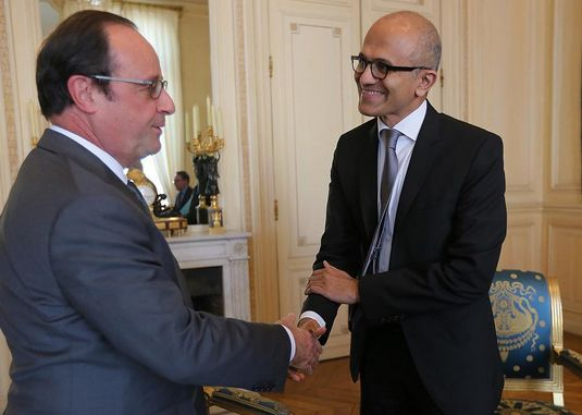 francois-hollande-satya-nadella-paris