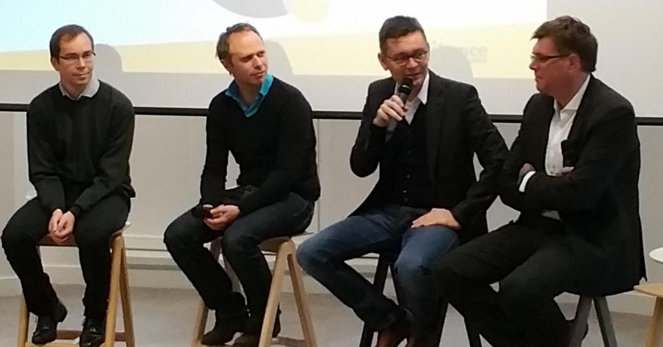 De gauche à droite : Erwan Le Pennec (Polytechnique), Franck Le Ouay (Honestica), François Bourdonce (FB & Cie), Paul-François Fournier (Bpifrance)