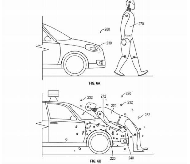 Illustration liée au brevet Google Car et son capot adhésif