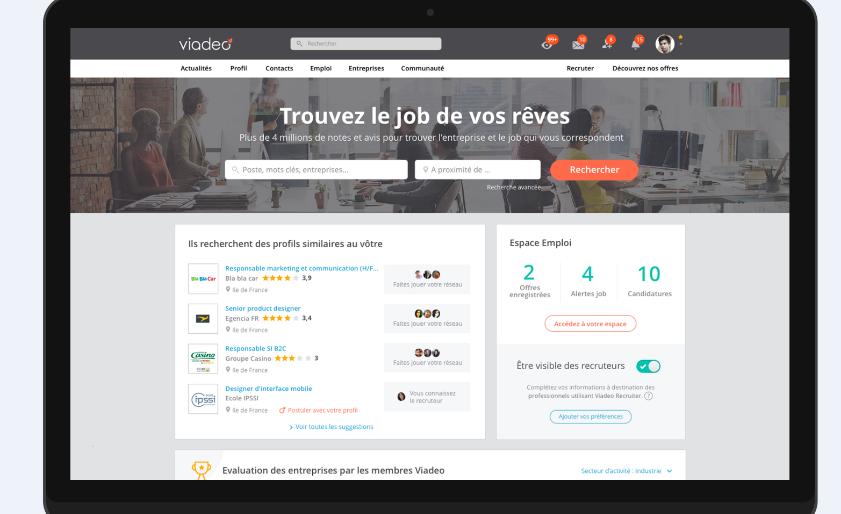 Nouvelle page d'accueil de Viadeo