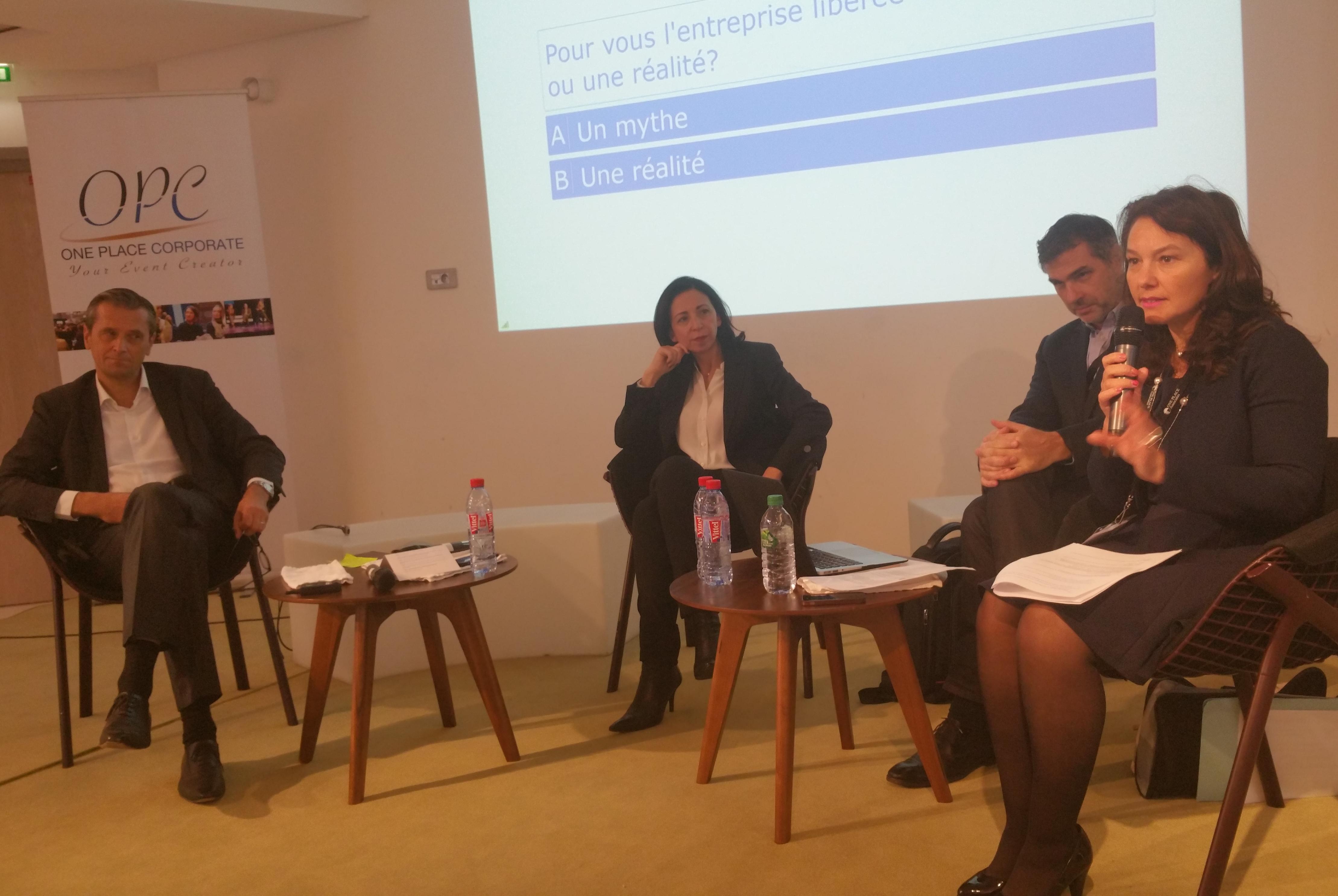 De gauche à droite : Jean Prévost (Axa Banque), Karine Lazimi (Allianz), Franck Perrier (Idaos) Sophie Floreani (BNP Paribas)